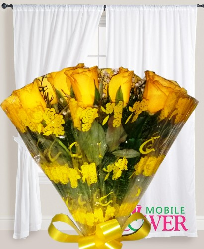 Yellow roses bunch mobile flower pune