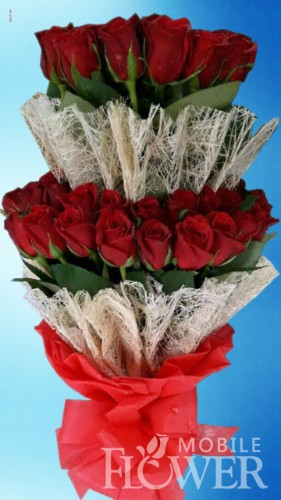 50 red roses tall bunch / mobile flower pune