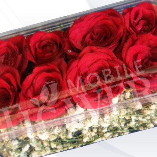 8 RED ROSES IN GIFT BOX / mobile flower pune