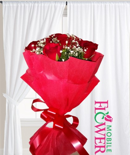 12 Red roses  bunch  / mobile flower pune