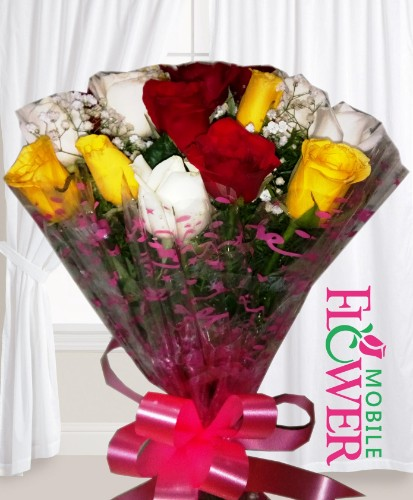 12 mix roses  bunch  / mobile flower pune