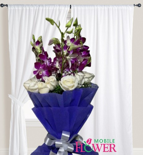 White roses with orchid bunch / mobile flower pune