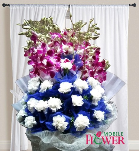 Orchid n white carnation net bunch  / mobile flower pune