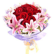 Elegant lilies & Red Roses
