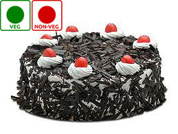 1 KG SCRUMPTIOUS BLACK FOREST CAKE(EGGLESS)