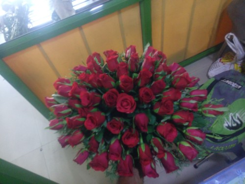 Low long with red roses