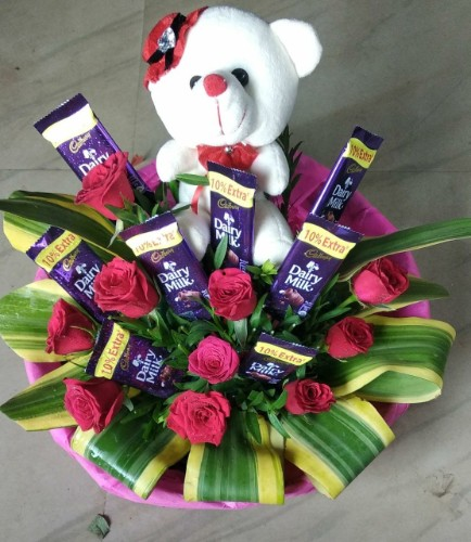 Mix roses chocolates and teddy bunch