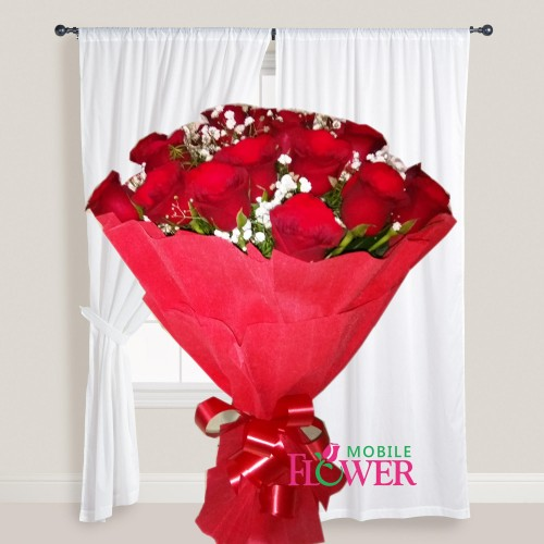 20 red roses imported paper packing bunch / mobile flower pune