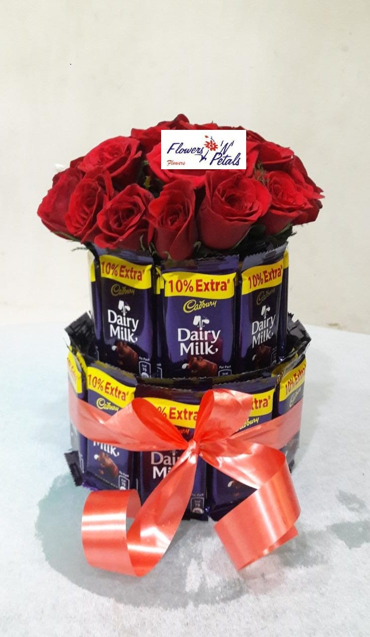 Chocolate bunch with Red Roses