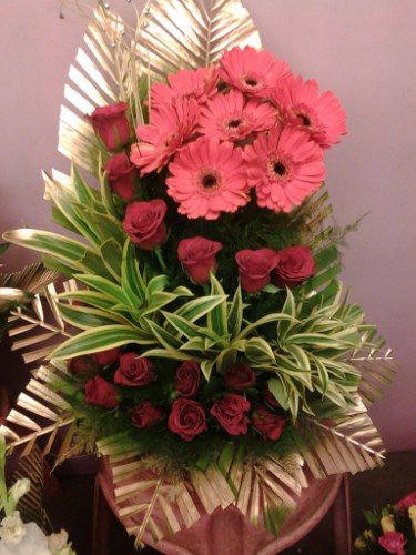 gerbera and rose arrangement