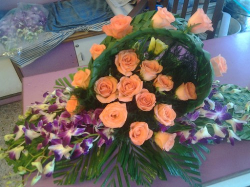 orange rose and orchid