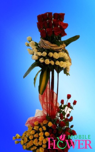 Two tier arrangement  / mobile flower pune