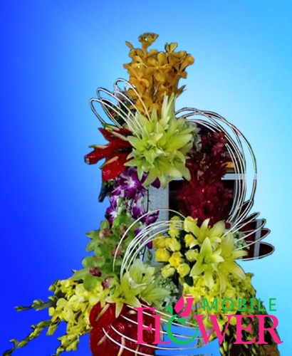 4 feet height tall assorted exotic arranege ment / mobile flower pune