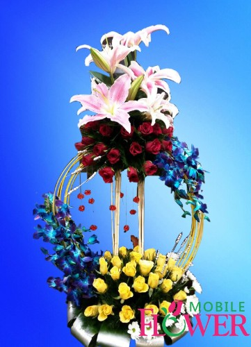 Lily orchid n roses basket  / mobile flower pune