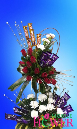 dairy milk 5 star chocolates with roses n carnation arranement  / mobile flower pune