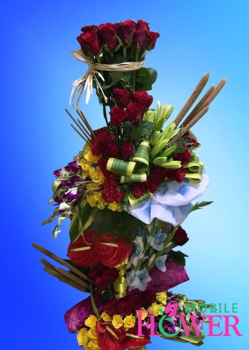 Roses lily orchid tall arrangement / mobile flower pune