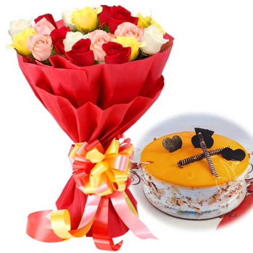 Beautiful Combo of Mix Roses with Half Kg Mango Deloght Cake