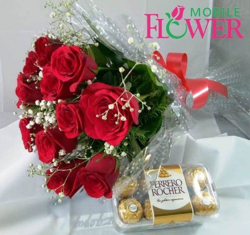 Red roses bunch with imported ferrero rocher chocolate by mobile flower pune