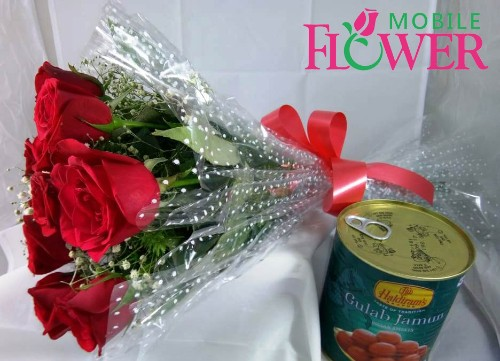 Red roses bunch with 1 kg gulaab jamun by mobile flower pune