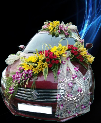 Wedding car decoration, car decoration in pune and all india by mobile flower pune