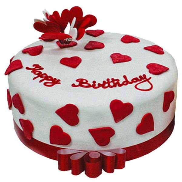 1 Kg. Red & White Birthday Cake