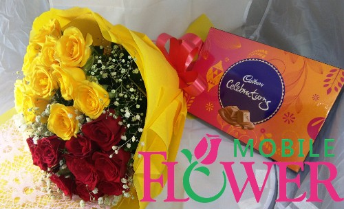 20 red n yellow roses bunch with celebrtion gift box by mobileflowerpune.com
