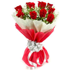 15 red roses red and white tissue
