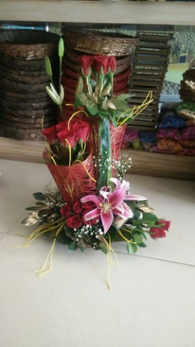Exotic roses and lilies arrangement