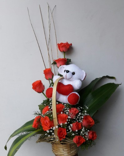 20 Red Roses Basket with a Teddy