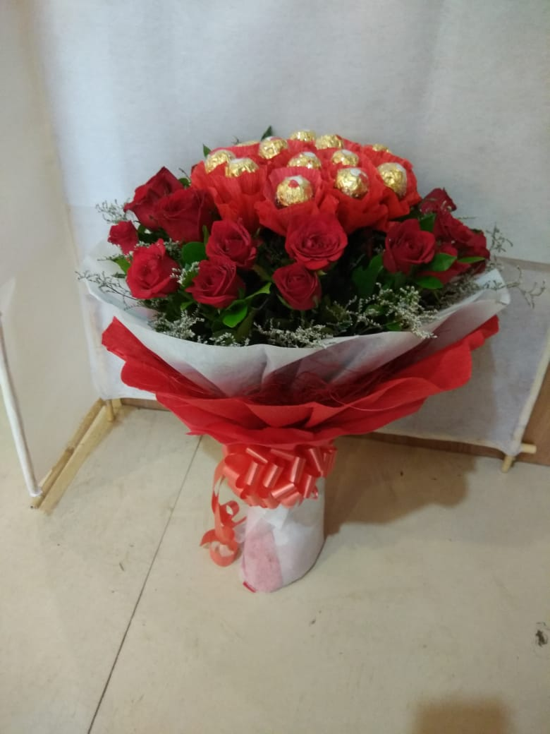 Red roses and Ferrero rochers