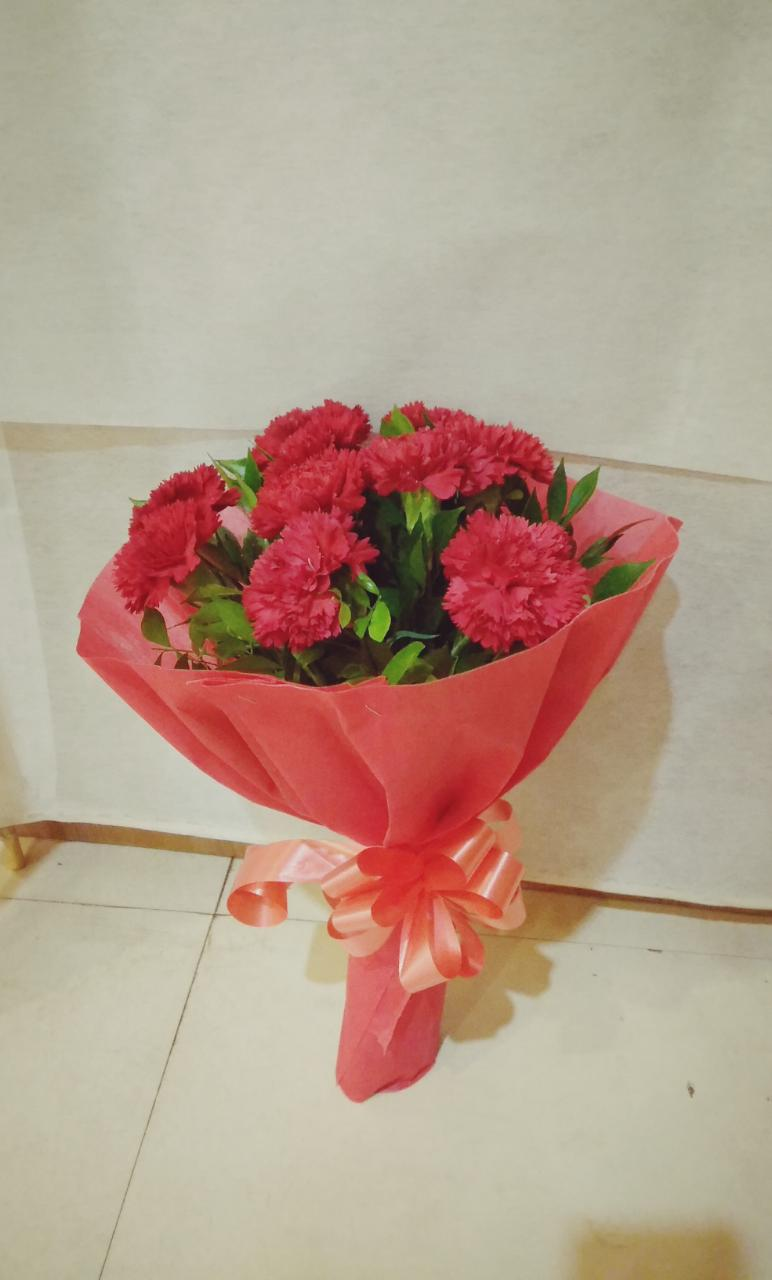 Red carnations bunch