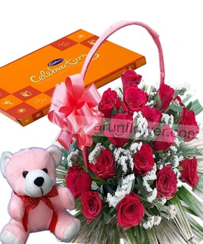 Red bloom with teddy and chocolate(AFC19)