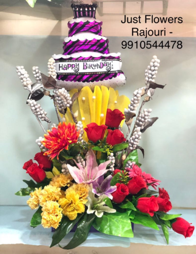 Birthday Cake ballons with flowers
