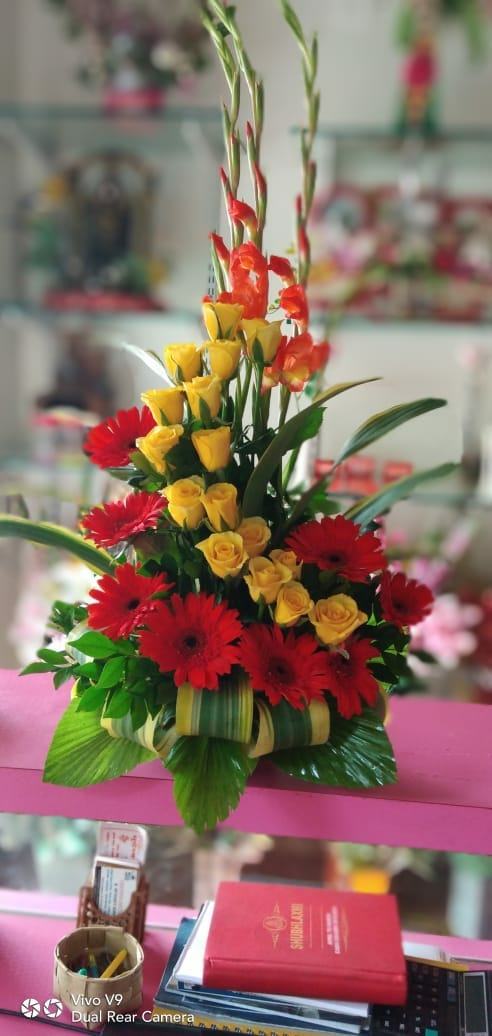 Refreshing  arrangement  of zerbera,  Roses n glad/just flowers ahmednagar