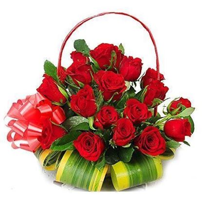 Round Basket of 20 Red Roses
