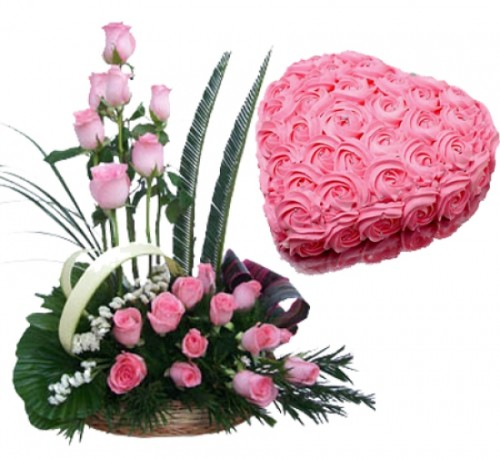 Pink Surprise Combo of Pink Roses Basket and Rose Cake