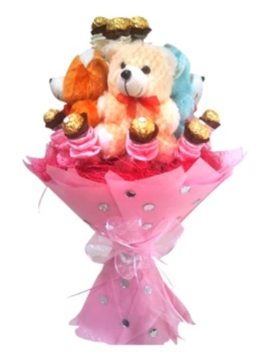 Bouquet of Teddy with Ferrero Rocher chocolate