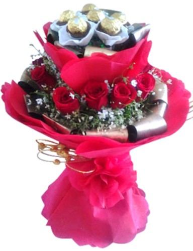 Red Roses with Ferrero Rocher chocolate