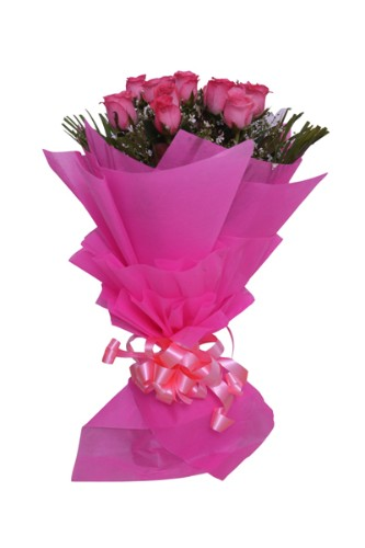 10 Pink Roses Paper Packing Bunch