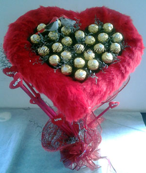 Chocolate arrangement in heart shape