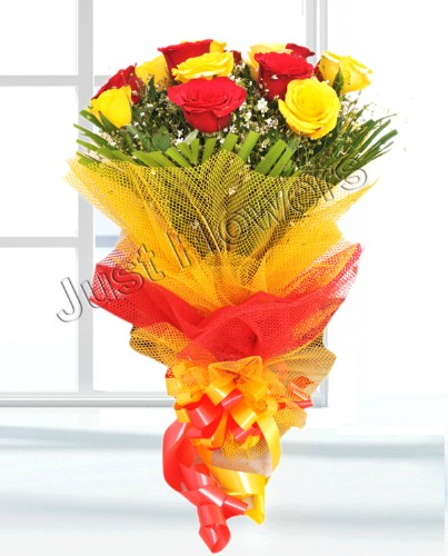 12 Red & Yellow Roses Bunch