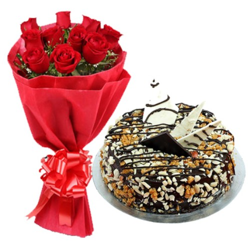 Red Roses with Nutty Delight Cake