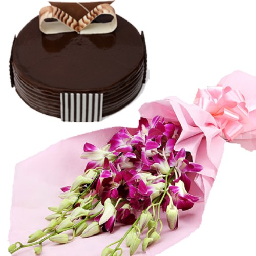6 Orchids Bunch with 1/2kg Truffle Cake