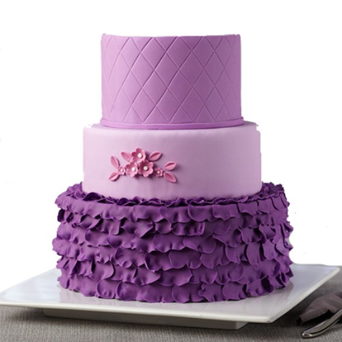5Kg 3 Tier Purple Fondant Cake