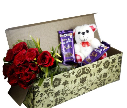 12 Roses, Small Teddy, 2 Dairymilk Silk Combo In A Box
