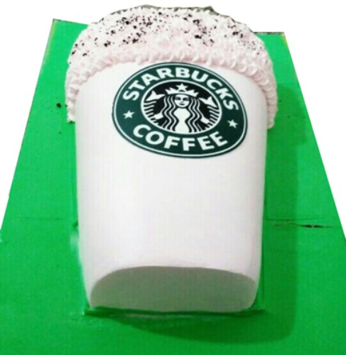 1kg Star Bucks Coffee Shape Cake (Next Day)